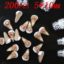 200pcs 10x5mm ice-cream nail decoration fingernail stickers coffee color