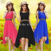 Spring 2014 plus size clothing summer solid color chiffon sleeveless one-piece dress medium-long  female