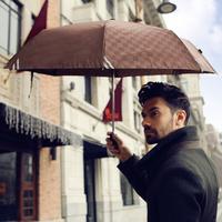 High Quality Commercial Embossed Automatic Umbrellas Male Umbrella Folding Umbrella Men Personality 3 Folded Umbrella (Khaki)