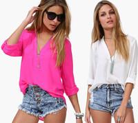 2014 New Women Temperament Casual Shirt Spring Summer Long Sleeve Chiffon V-neck Blouse #251
