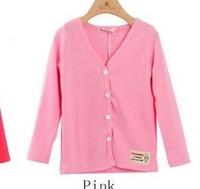 Free shipping Casual Cotton Baby Sweater Children Botton V-Neck Long Sleeve Kid Cardigan Boys/Girl Cardigan 8Colors 2-6 Yrs