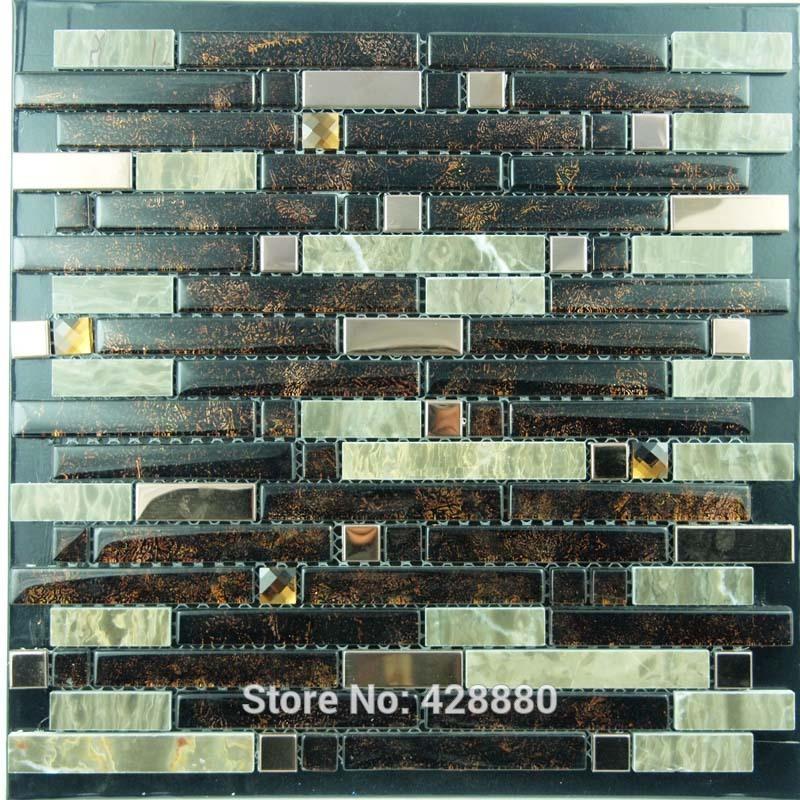 art stainless steel glass blend metal backsplash wall sticker yb2023