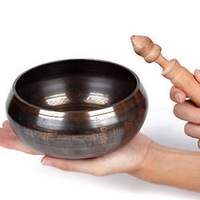 Rare Superb Tibetan OM Ring Gong YOGA Singing Bowl 4.5*8cm  wholesale Collectibles GLORIOUS OLD YOGA SINGING BOWL