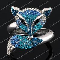 12 pcs Huge Fox Animal Bracelet Bangle rhinestone Crystal fashion jewelry gift hinged charm alloy