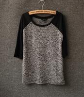 Summer patchwork 2014 knitted color block women's raglan sleeve fifth sleeve short-sleeve t-shirt