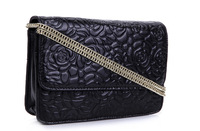 2014 Summer Famous Brand Style Rose Embossed Real Cowhide Genuine Leather Women Shoulder Bag Messenger Luxury Chain Bag