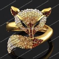 Huge Fox Animal Bracelet Bangle Brown topaz rhinestone Crystal fashion jewelry gift hinged charm alloy