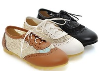2014 spring and summer sweet cutout Oxfords shoes girl slip-resistant flat heel lace casual small leather women sneakers