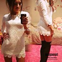 Gagaopt Russian fashion one-piece dress dobby hollow out sexy vintage elegant women dress jacquard lady MINI evening dress