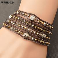 Free shipping, Fashion Handmade Leather Bracelet 4 Rows Bracelet 6mm Crystal Beads Leather Wrap Bracelets WRBR-024