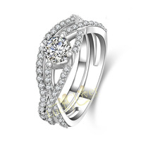 White Gold plated 1ct Round Cut NSCD simulation diamond with micro Setting Engagement Rings for woman FREE SHIPPING!