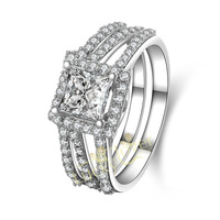 Wholesale Drop Shipping 1 Carat Princess Cut NSCD Simulated Diamond Solid 925 Sterling Silver 2-Pc Wedding Ring Set Jewelry