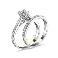 Hot sale 18K Gold Plated 2 IN 1 NSCD simulation diamond Wedding Ring Set for women wholesale jewelry Free shipping