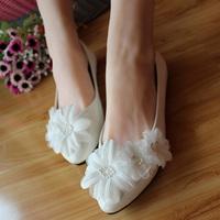Bridal shoes aesthetic three-dimensional flower white dress flat wedding shoes performance formal dress bridesmaid shoes