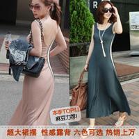 Free shipping New 2014 Women Summer Modal Sexy Halter Vest Dress Mopping Slim Package Hip Long Beach dress