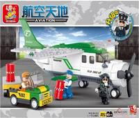 Sluban children building blocks aviation transport 251pcs/set M38-B0362 Children Enlightenment assembled toy
