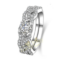 Sterling silver with18k White Gold Plated, NSCD simulation diamond Womens Wedding Rings Set Classic Jewelry 2014 Engagement,