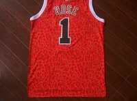 Chicago #1 Rose 2014  leopard Crazy Red  Basketball Jersey Fabrics   Free  Shipping