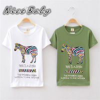 2014 summer new children's cotton T-shirt, boy kids cartoon zebra pattern T-shirt, casual white T-shirt CL0014