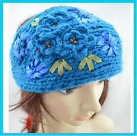 Handmade crochet kids and Women knitted flower headband Ribbon flower ,  + EMS/DHL  free shipping