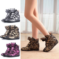 Fashion women's elevator shoes gold and silver color velcro isabel marant high-top shoes single shoes