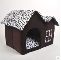 Free Shipping Super Soft British Style Pet House Luxury High-end Double Pet House/brown Dog Room Cat Bed 55 X 40 X 42 Cm