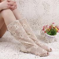 Fashion open toe sandals cutout mesh gauze women boots spring autumn summer cool boots flat single boots Knitting cool boots