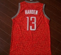 Houston  #13 Harden  2014  leopard Crazy  Red  Basketball Jersey Fabrics   Free  Shipping