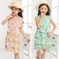 Hot 2014 Summer New fashion children Chiffon clothing girls Princess Dress kids Cake dress D001