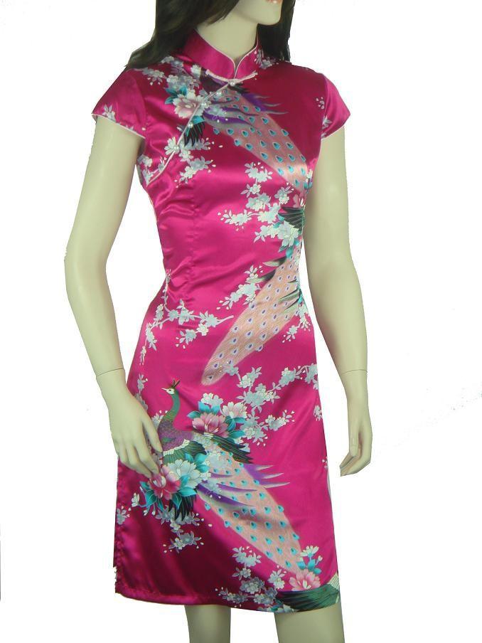 Hot Pink Summer Chinese Women's Silk Rayou Halter Cheong-sam Mini Qipao Dress Flower Size S M L XL XXL Free Shipping D0020#(China (Mainland))