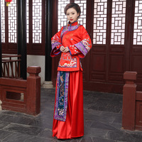 Show clothes chinese style pratensis marry red dragon gown embroidery bride