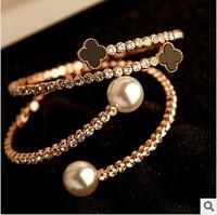 2014 Fashion  Hot Sell Crystal Rhinestone Clover  Four Leaf Bangles Pearl Wedding Bracelets&Bangles Gift S001