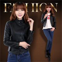 2014 spring coat leather clothing women's design slim short leather jacket women motorcycle PU clothing