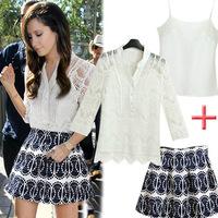 F new 2014 lace blouses women chiffon shirt women's new European leg lace shirt summer dress three-piece suit wholesale