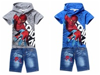 Spiderman,Children hoodies,new 2014,children t-shirt+jeans pants set,kids clothes set,baby boy clothes,summer,Sports Suit