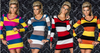New 2014 Women Summer Dress Sexy lingerie clubwear dress Casual Dresses long-sleeve stripe Women Fashion Slim Elastic XXL