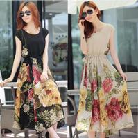 2014 summer new women dress bohemian dress chiffon flower long section
