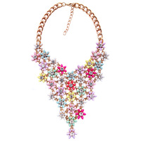 2014 New Bead Chokers Necklace Chain colorfull Flower bib Statement necklaces & pendants Fashion Jewelry For Women Wholesale
