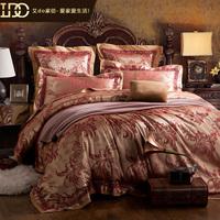 Free shipping high quality 100% luxury home textile cotton  four piece set satin jacquardfashion royal wedding four piece set