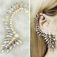 Free Ship $15 Fashion Vintage Statement Ear Jewelry Gold Plated Neon Crystal Pearl Rhinestone Women Clip Earring Ear Cuff A00130