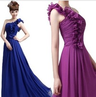 New 2014 Sweet One-Shoulder Floral Long Evening Dress Bridesmaid Dress Cocktail Party Dress