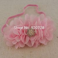 Free shipping New triple solid mini chiffon flower with lace star Rhinestone headband DIY flower headband for Kids 20pcs/lot
