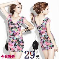 Women's tight sexy slim hip V-neck fancy vest basic slim one-piece dress