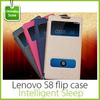 Original Lenovo S8 Gold fighter phone case Intelligent Sleep flip case window holster Freeshipping gifts