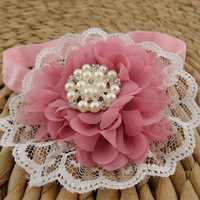 2014 New Boutique Baby girl chiffon flower headband,lace flower Rhinestone pearl center for Infant & kids Hair Accessories 18pcs