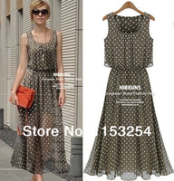 New Spring 2014 Ladies Long Winter Chiffon Sexy Dress Warm Fashion Maxi Polka Dot Summer Dress Casual Brand Dresses