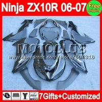 7gifts Body For KAWASAKI NINJA ZX10R 06-07 ZX-10R 10R ALL Black ZX 10R 10 R 20C39 06 07 2006 2007 Fairing Kit  Gloss black