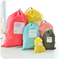 Candy color travel tote underwear shoes clothing classification drawstring storage bag set