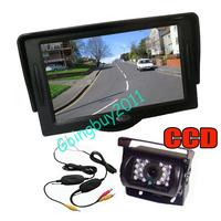 "18 LED IR Wireless CCD Reversing Camera Waterproof + 4.3"" LCD Monitor Car Rear View Kit 30pcs/lot"