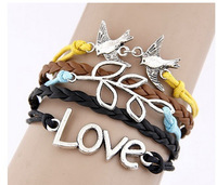 Jewelry wholesale Vintage Love Bird Branches Multilayer Woven bracelet 10PCS